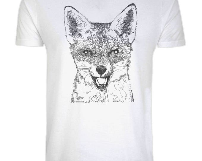 Red Fox Wildlife Art Original Line Drawing Illustration Organic Cotton T-Shirt. Plus Sizes.