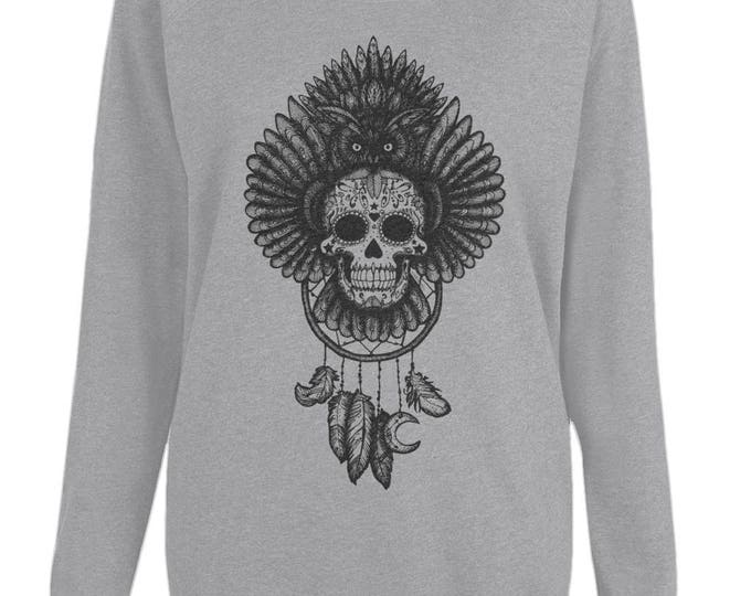 Dreamcatcher Sugar Skull Owl Totem Original Line Drawing Womens Organic Cotton Raglan Sweatshirt. Grey.