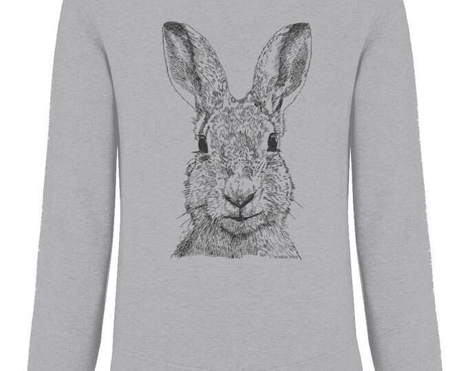 Hare Rabbit Bunny Wildlife Print Organic Cotton Unisex Sweatshirt. Heather Grey.