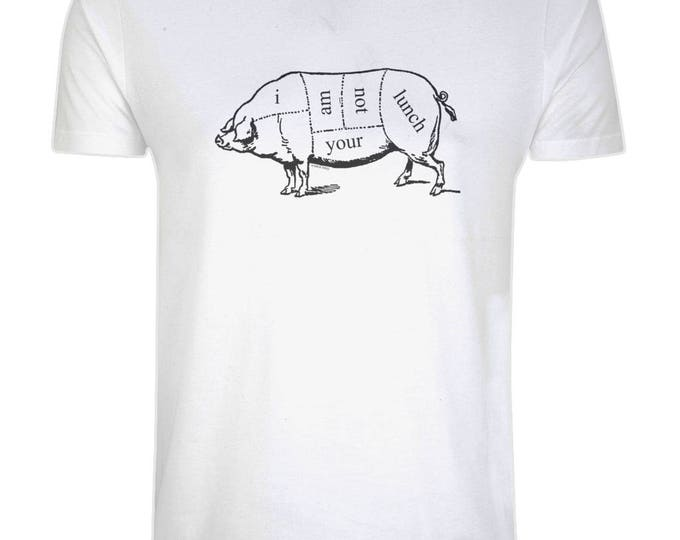 Pig Vegan Vegetarian 'I Am Not Your Lunch' Organic Cotton T-Shirt. White. Plus Sizes.