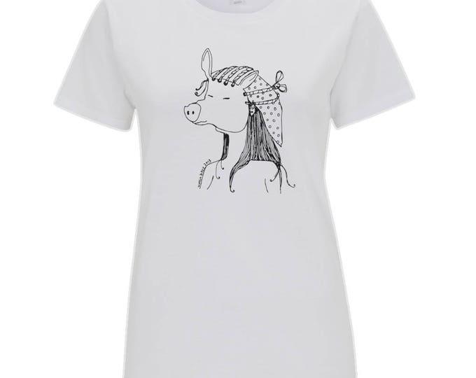 Pigface Illustration Ink Drawing Graphic Womens Organic Cotton T- Shirt Top. White.