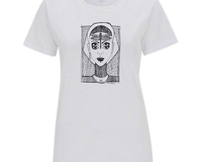 Dragonfly Girl Original Boho Fantasy Line Drawing Women's Organic Cotton T-Shirt. White.