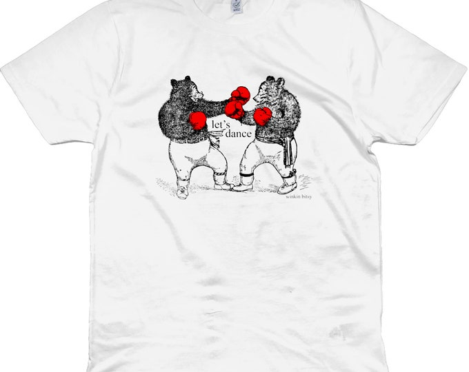 Let's Dance Boxing Bears Altered Vintage Art Line Drawing Illustrated Organic Cotton T-Shirt. White. Plus Sizes