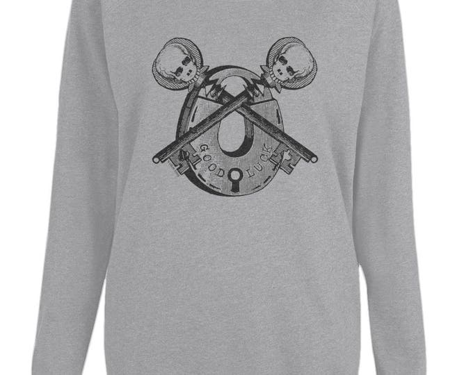 Good Luck Skeleton Keys And Padlock Altered Vintage Art Womens Organic Cotton Raglan Sweatshirt. Grey.