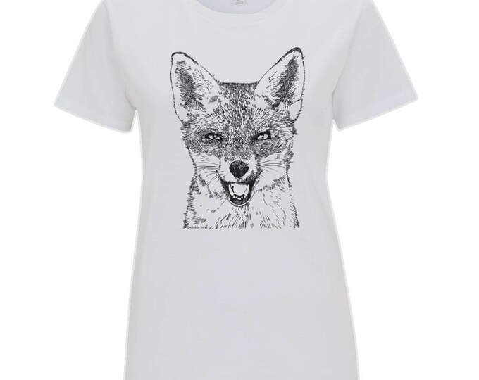 Red Fox Original Wildlife Line Drawing Women's Organic Cotton T-Shirt. White Or Heather Grey.