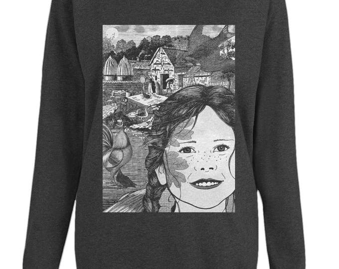 Hope The Farm Girl Original Illustration Womens Organic Cotton Raglan Sweatshirt. Black.