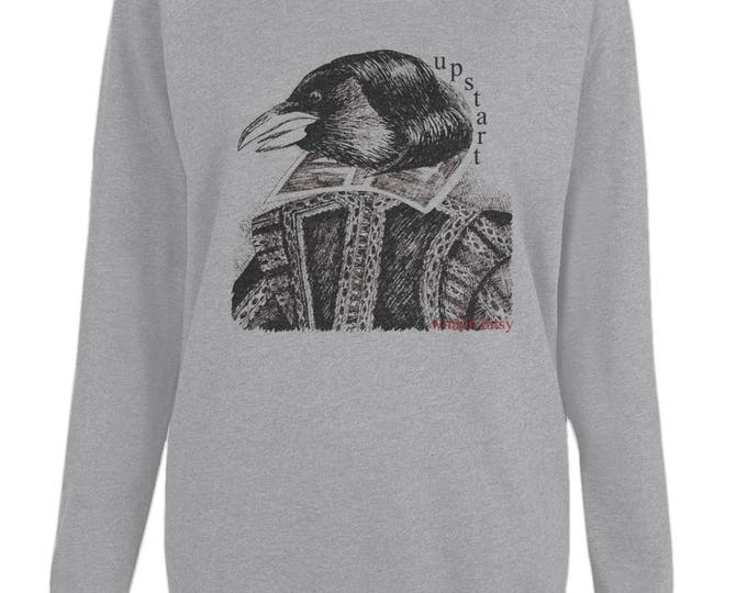 Upstart Crow William Shakespeare Original Line Drawing Womens Organic Cotton Raglan Sweatshirt. Grey.