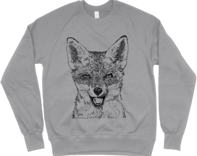 Red Fox Original Art Wildlife Print Organic Cottin Unisex Raglan Sweatshirt. Heather Grey.