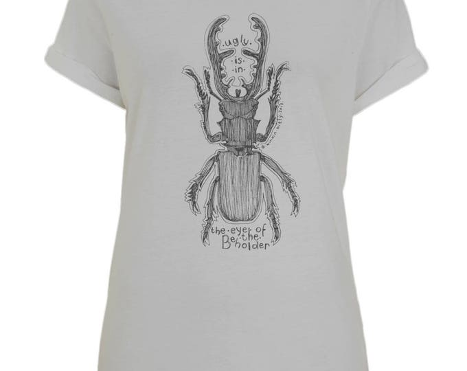 Ugly Is In The Eye Of The Beholder Stag Beetle Line Drawing Womens Organic Cotton T-Shirt With Rolled Up Sleeves. Grey.
