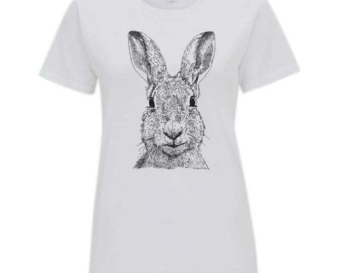 Hare Wildlife Original Line Drawing Bunny Rabbit Easter Springtime Illustrated Women's Organic Cotton T-Shirt. White.