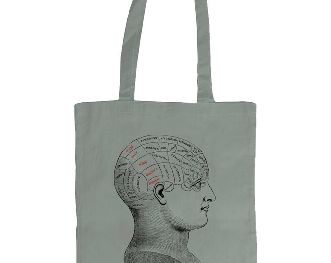 Mind Over What Doesn't Matter. Graphic Tote Bag With Vintage Phrenology Head Diagram Design. Grey.