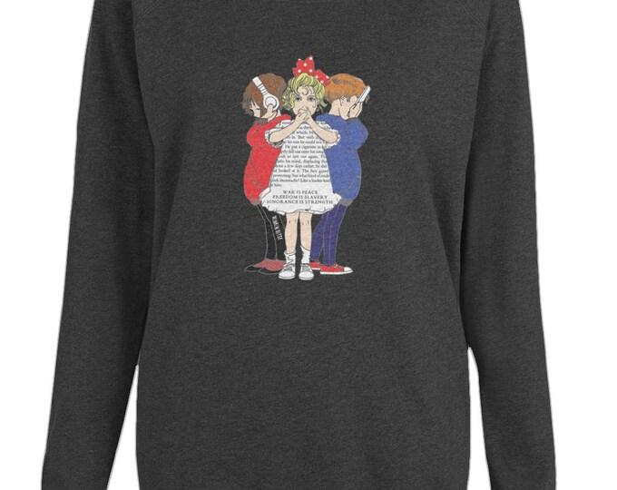1984 George Orwell Big Brother Womens Organic Cotton Raglan Sweatshirt. Black.