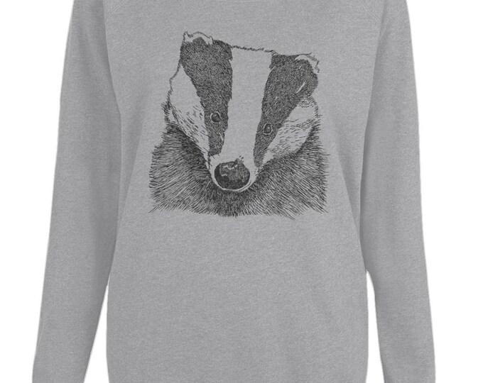 Badger Wildlife Art Original Line Drawing Womens Organic Cotton Raglan Sweatshirt. Grey.