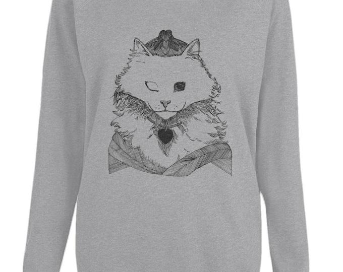 Princess Cat Original Line Drawing Womens Organic Cotton Raglan Sweatshirt. Grey.