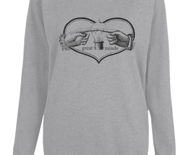Great Minds Hands Light Bulb And Heart Womens Organic Cotton Raglan Sweatshirt. Grey.