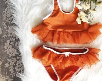 Peplum ruffle swim suit/ little girls swim suit/ ruffle swim suit/ toddler girls swim suit/baby girl swim suit/baby girl ruffle bikini