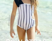 Toddler one piece with adjustable tie one shoulder strap side cut out kids swim suit girls one piece bathingsuit little girl swim suit