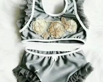 Silver & gold swim suit/ little girls swim suit/ ruffle swim suit/ toddler girls swim suit/baby girl swim suit/baby girl ruffle