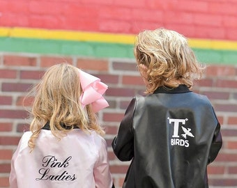 T birds leather jacket/ toddler costume/ baby costume / 1950s boy costume /boy costume /black jacket/ Faux leather bomber/kids halloween