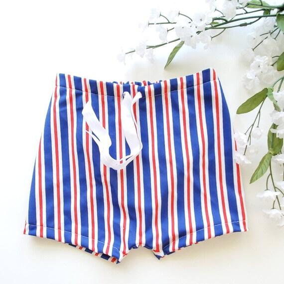 26866fcb8dc6e Red white & blue stripe swim trunks/ baby swim trunks/euro | Etsy