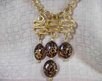 Leopard Pattern Drops and Gold Aluminum Wire Ribbon Links Necklace and Earrings Set