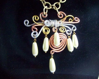 Creme Pearls Galore On Free Form Wire Ribbons Necklace