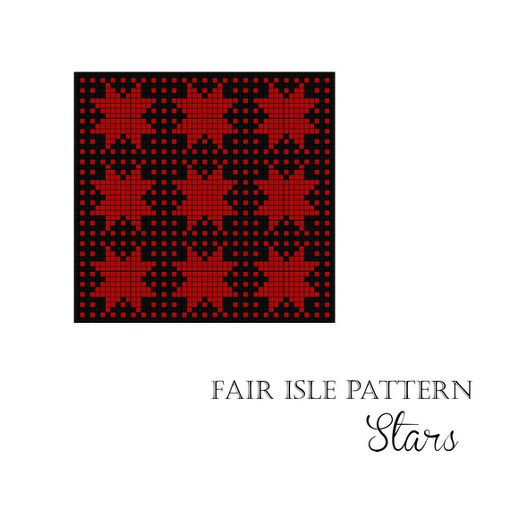 Fair Isle knitting pattern chart Stars