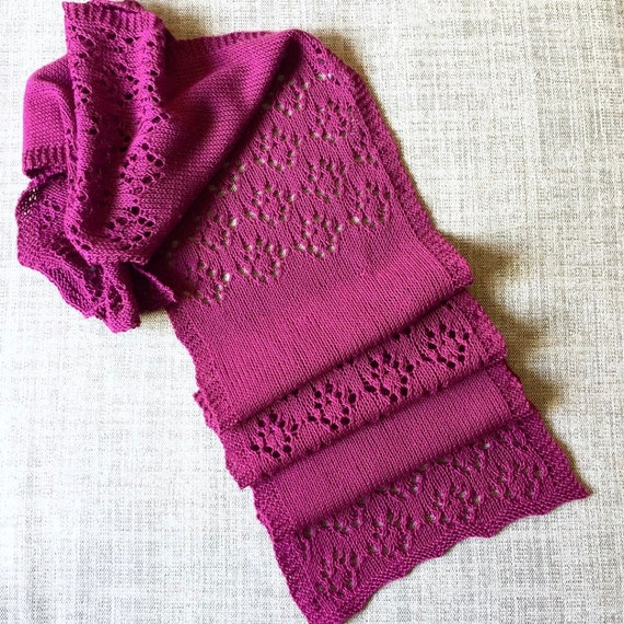 Simple Lace Scarf Knitting Pattern Etsy