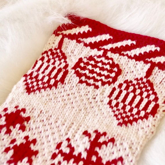 Knit Christmas Stocking Pattern With Christmas Decor Etsy