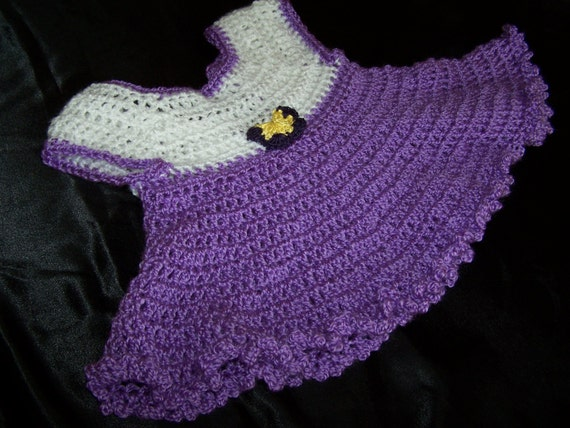 16a56dea456b Baby girl crochet dress and sweater set. Light purple and
