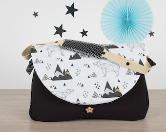 Diaper Bag Black and origami bear