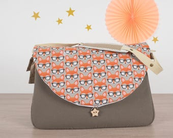 Diaper bag, beige bag, Fox, bag Fox, glasses, original, unique, baby bag, maternity, bag to Swaddle, baby girl, baby boy