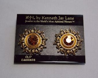 Kenneth Jay Lane Pave Fleur Rouge Tassel Pendants d/'oreilles ~ Vintage ~