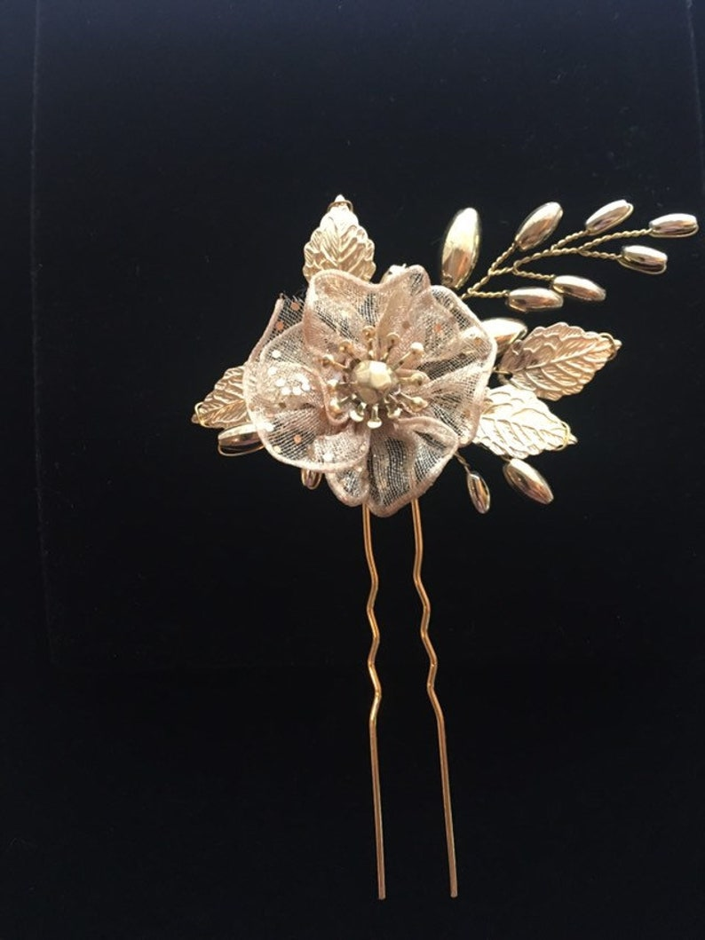 Bridal flower hair pin gold hairpin leaf headpiece wedding hair piece bridesmaids gift bridal hair adornment gold leaf hair pin with flower