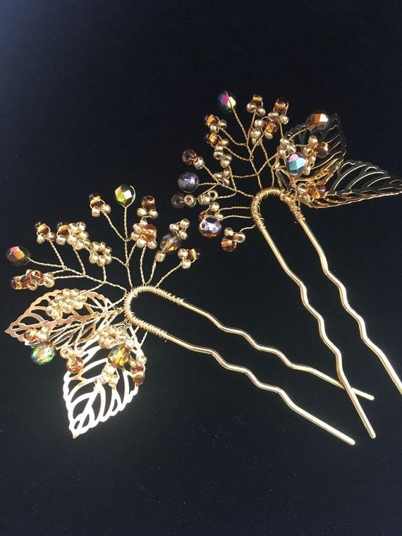 Cheveux d'or broche postiche mariée or feuille d'or en épingle à cheveux branche postiche branche feuille or en épingle à cheveux casque branche or en épingle à cheveux mariée en épingle à