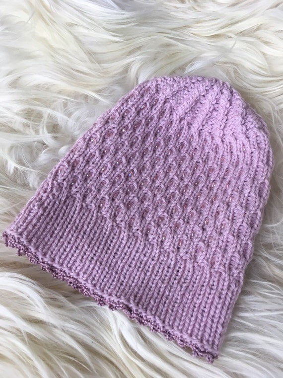 cfef8bbce0f Winter knit beanie pink knitted hat with beads pink knit hat