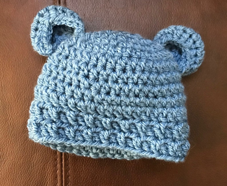 Crochet baby lap blanket with matching bear ear hat