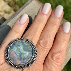 Handcrafted Silver Acrylic Pour Art Adjustable Ring