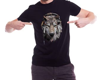 Wolf with Headphones, wolf t-shirt, Etno wolf t-shirt- Free Shipping Worldwide