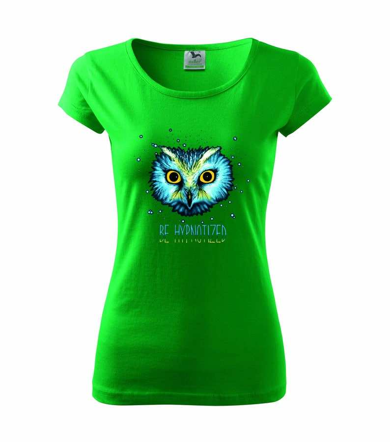 6198f81b Be Hypnotized Women T-shirt Blue Owl Design T-shirt Bird | Etsy