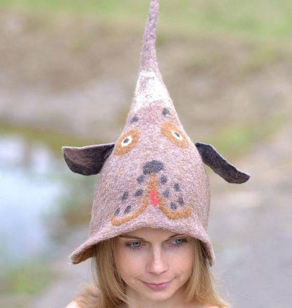 6a48f089841 Sauna hat Dog hat Good mood gnome elf fairy hat Felt hat