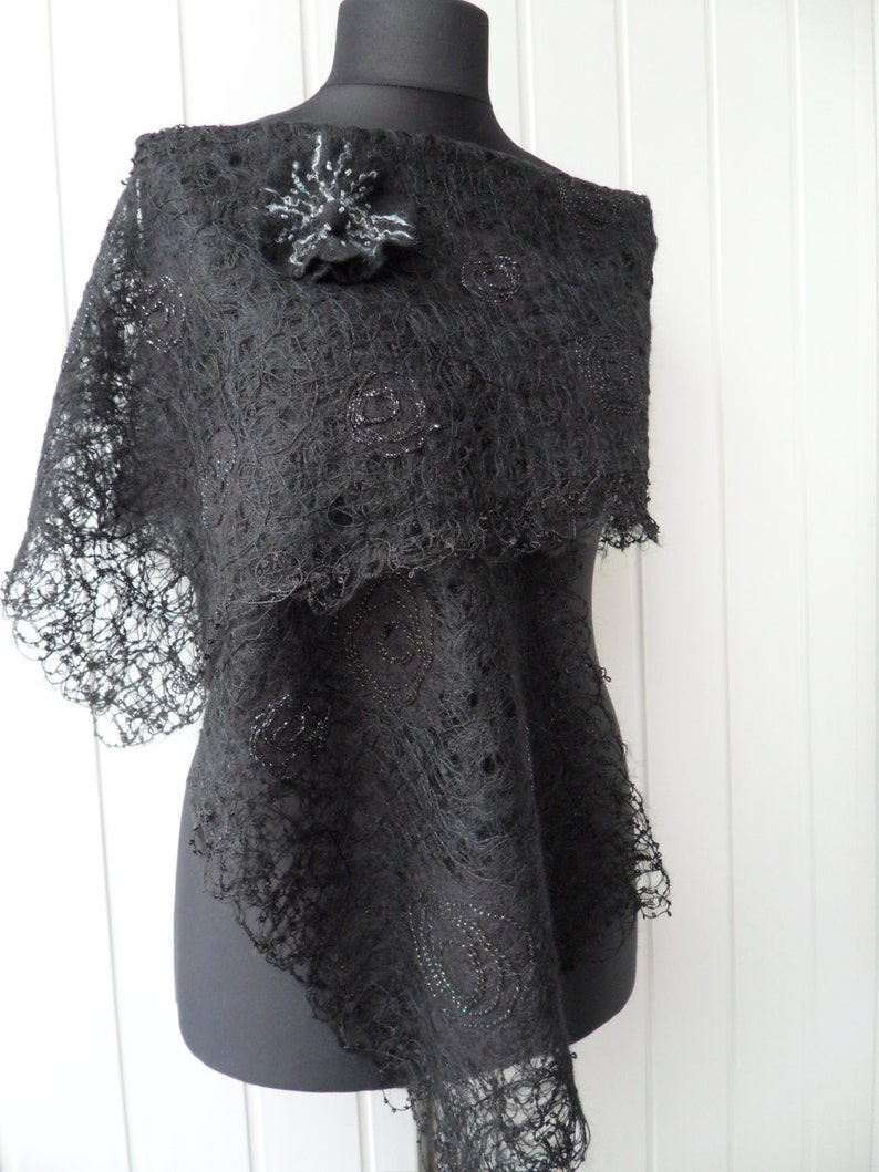 6c481916ae Black Lace Shawl Lace cover up Wedding lace cover up Evening | Etsy