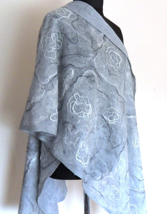 White nuno felt silk and wool scarf Unique handmade clothing for women Merino wool shawl White scarf White shawl wrap White wool scarf