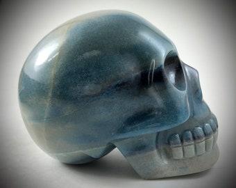 Dumortierite Skull Carving by Leandro Souza