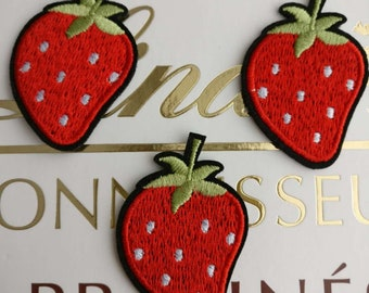"""6 Strawberry Patch Shortcake Embroidered Iron On Applique 2.25/"""" X 3.00/"""" Fruit"""