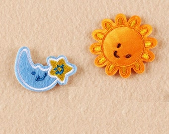 65ae5c004156 Wholesale Bulk Lot 200pcs Cartoon Sun Moon Star iron on sewing patch DIY  kids Craft 4cm