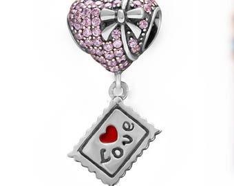 Pink  S925 Sterling silver  LOVE  heart  Charm    pendant    Diy bracelet