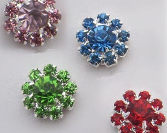 Wholesale lot 100pcs   Rhinestone buttons Metal Flatback Embellishment Crystal, Wedding bouquet  12mm