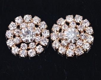 Wholesale lot  100pcs Rhinestone buttons gold  golden Metal Flatback Embellishment Crystal, Wedding bouquet  20mm