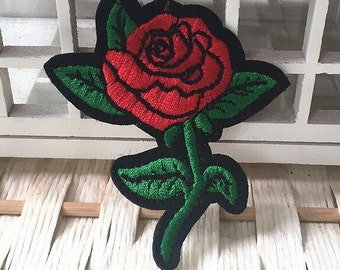 Wholesale lot  100pcs red Rose    embroidered   iron  on patch  DIY 6.6x7.2cm